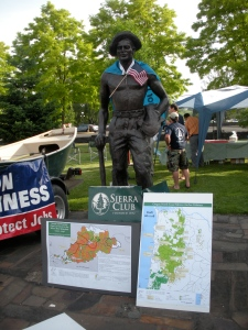 The statue of a Civilian Conservation Corps member all decked out