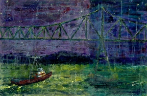 Boat & Bridge, Blue Night