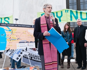 Reverend Rick Davis speaks to the moral importance of stopping coal exports.  Photo by Greg Sotir