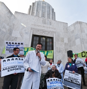 Salem trauma surgeon Dr. Patrick O'Herron, M.D., addresses the crowd at the Sound the Alarm Rally on March 13th . Photo by Greg Sotir.
