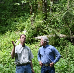 District Forester Mike Cafferata explaining the Conservation Area's purpose to Governor Kitzhaber