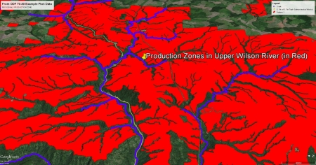 Upper Wilson River - Clearcuts in RED