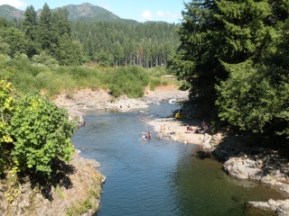 At milepost 23 the whole family can take a break from the heat and find the Jones Creek Campground. This very accessible spot features just about anything you'd want on a hot summer day. The feature is deep swimming holes, warm basking rocks rocks, and sandy beaches.